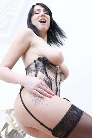 Corset-wearing pale brunette gets ass-fucked on a couch - XXXonXXX - Pic 11