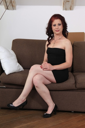 Redhead in red panties gets fucked in the ass on a couch - XXXonXXX - Pic 3