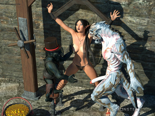 Busty elven slave fucks orcs, goblins and other - Picture 1