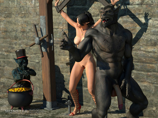 Free-use brunette elf getting facial'd by a hung orc - Picture 1