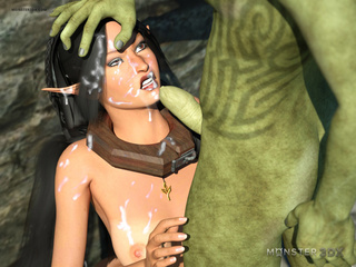 Free-use brunette elf getting facial'd by a hung orc - Picture 3