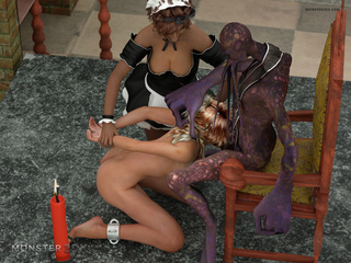 Ebony maid and a white blonde fuck a purple alien - Picture 3