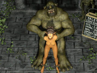 Brown-haired Elven-like beauty railed by a hung orc - Picture 1