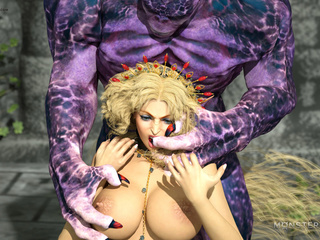 Brown-haired Elven-like beauty railed by a hung orc - Picture 3