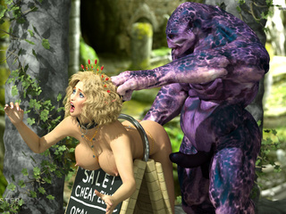 Brown-haired Elven-like beauty railed by a hung orc - Picture 4