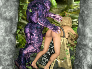Brown-haired Elven-like beauty railed by a hung orc - Picture 5