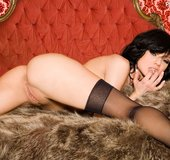 Steaming hot chick takes off her brown fur coat and displays her banging