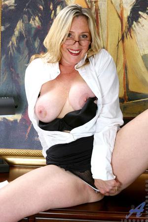 Nerdy blonde mature slides her undies to - XXX Dessert - Picture 12