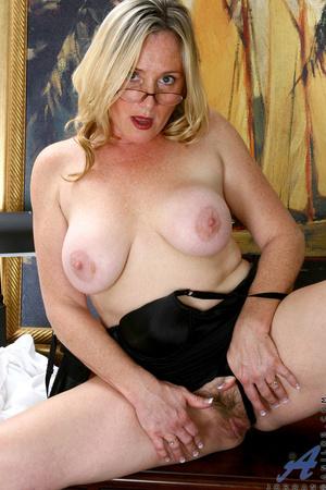 Nerdy blonde mature slides her undies to - XXX Dessert - Picture 13