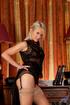 blonde babe black lingerie