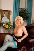 gorgeous blonde blue stockings