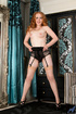 Naughty redhead in black dress loves to show her hairy cooch