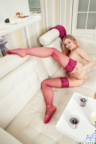 mature blonde pink stockings