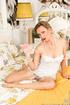mature blonde white corset