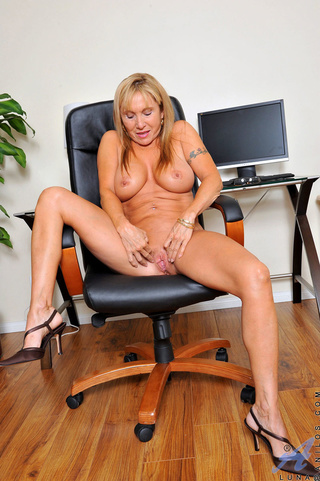canadian babe sits office