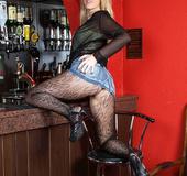 Blonde jeans skirt