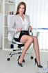 Mature cougar with pink nipples goes solo on the office chair.