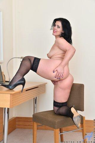 brunette cougar office attire