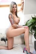 blonde, mature, stripping, tattooed