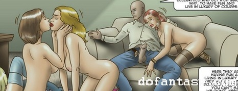 bdsm art, blonde, redhead, tied