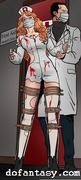 afraid, bdsm art, nurse, tied