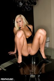 blonde bombshell shows her