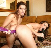 Wet haired latinas with round ample fake tits take turns riding symbian