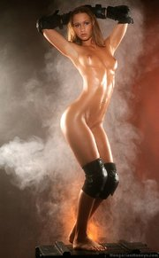body glistening with sweat