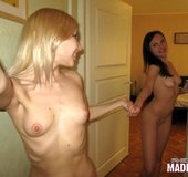 Brunette angel with pink tits enjoys a hot raol from blonde friend