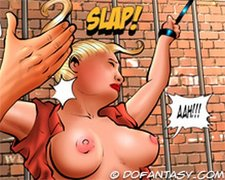 bdsm art, big tits, horse, tied
