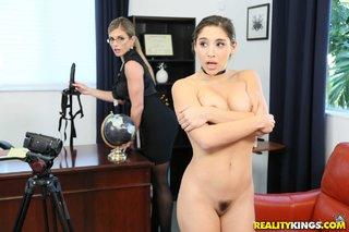 brunette lesbian spanking