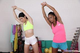 athletic brunette lesbians