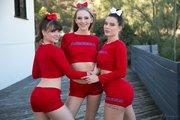 uniform lesbian cheerleader threesome