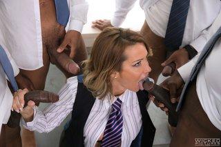 interracial office blowjob