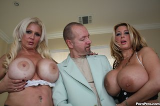 horny bald guy sandwiched