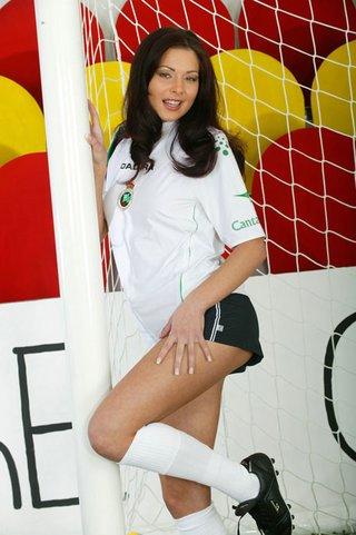 naughty brunette soccer chick