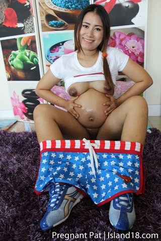 brunette pregnant asian
