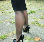 Blonde great legs high heels
